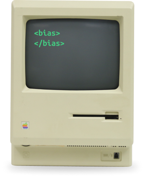 Old macintosh with the code <bias></bias> written in the screen